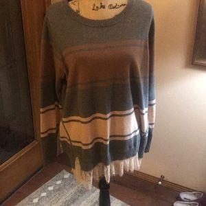 Logo grey striped sweater